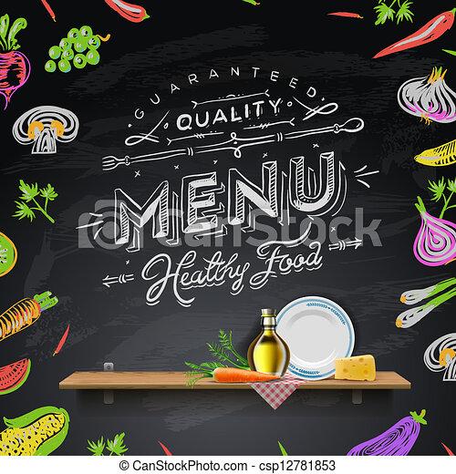 menu, elementy, projektować, chalkboard - csp12781853