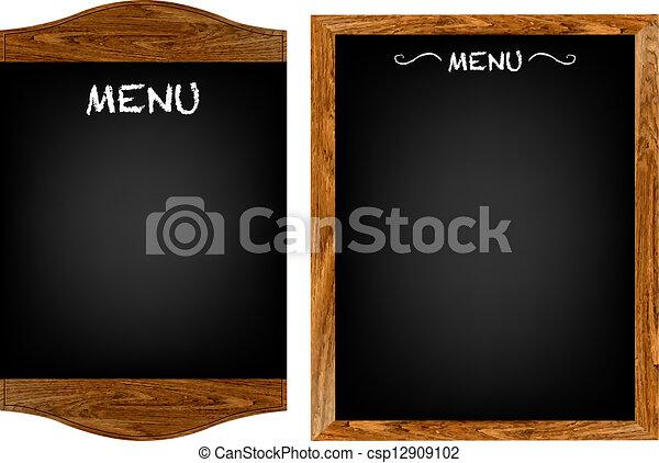 menu, komplet, tekst, deska, restauracja - csp12909102
