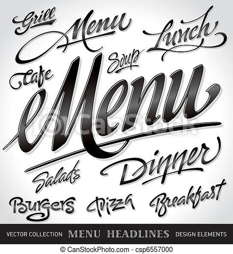 menu, nagłówki, komplet, (vector) - csp6557000