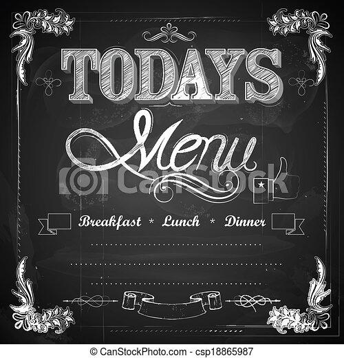 menu, pisemny, chalkboard - csp18865987