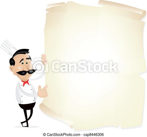 menu, spis, pergamin - csp8446306