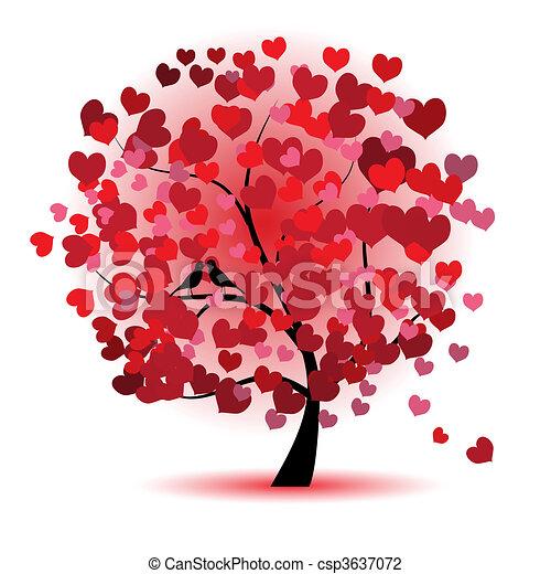 miłość, liść, drzewo, serca, valentine - csp3637072