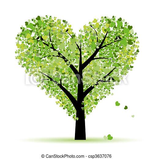 miłość, liść, drzewo, serca, valentine - csp3637076