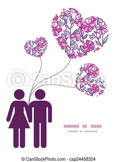 miłość, wibrujący, para, powitanie, pole, sylwetka, wektor, szablon, zaproszenie, próbka, kwiaty, ułożyć, karta - csp24458324