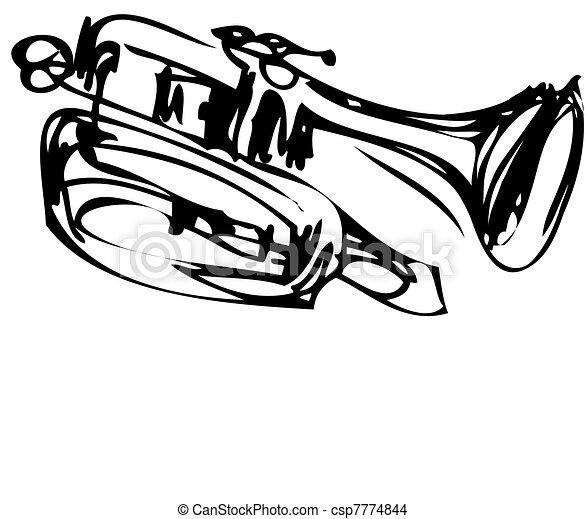 miedź, rys, kornet, muzyczny instrument - csp7774844
