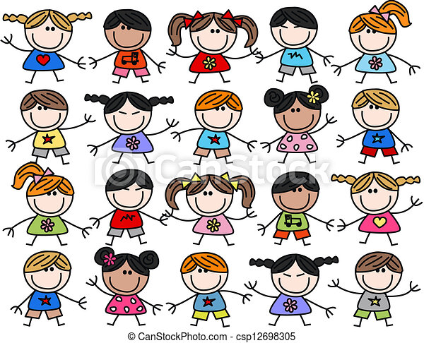 mieszany, dzieciaki, dzieci, etniczny, szczęśliwy - csp12698305