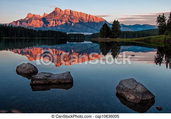 minnewanka, odbicie jezioro, góra - csp10636005