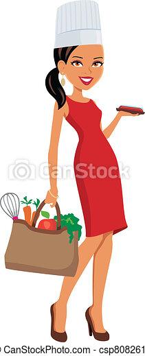 mistrz kucharski, dziewczyna, artykuły spożywcze - csp8082611