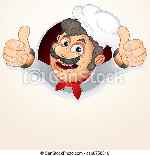 mistrz kucharski, kok, pokaz, kciuk do góry - csp6758810