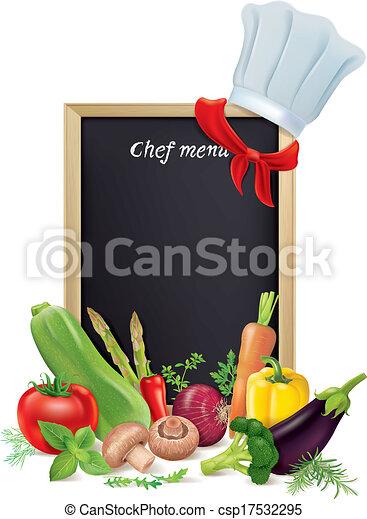 mistrz kucharski, menu, warzywa, deska - csp17532295