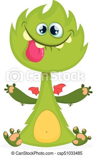 monster., potwór, kartka pocztowa, waving., halloween, odizolowany, rogaty, wektor, projektować, portret ilustracji, zielony, rysunek, śmiech - csp51033485
