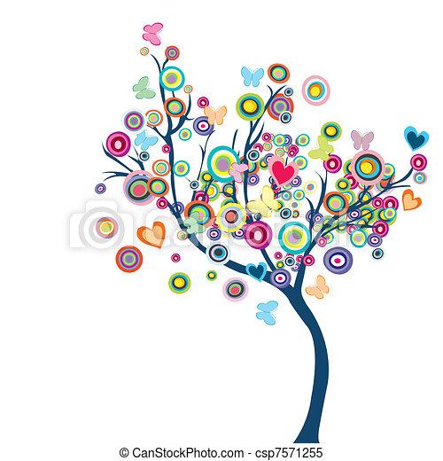 motyle, kwiaty, drzewo, barwny, szczęśliwy - csp7571255