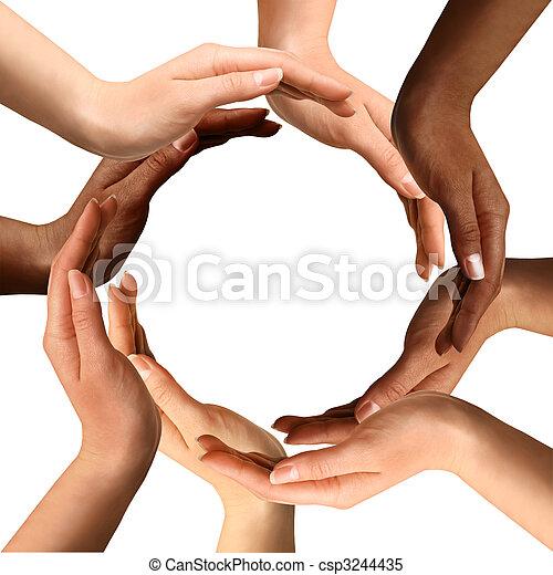 multiracial, zrobienie, koło, siła robocza - csp3244435