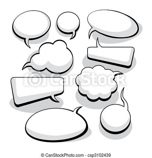 myśl, mowa, bańki, (vector) - csp3102439