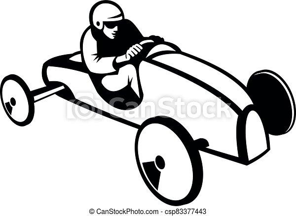 mydło, albo, retro, biegi wóz, biały, soapbox, czarnoskóry, boks, biegacz, derby - csp83377443