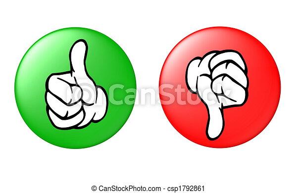 na dół, guzik, kciuk do góry - csp1792861