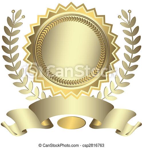 nagroda, wstążka, (vector), srebrzysty - csp2816763