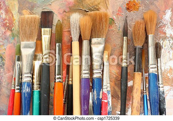 namalujcie paletę, szczotki, sztuka, & - csp1725339