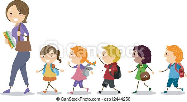 następujący, ich, dzieciaki, nauczyciel - csp12444256