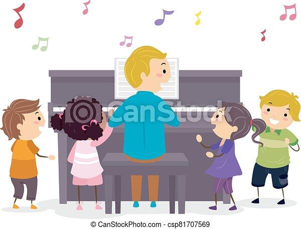 nauczyciel, dzieciaki, stickman, ilustracja, piano - csp81707569