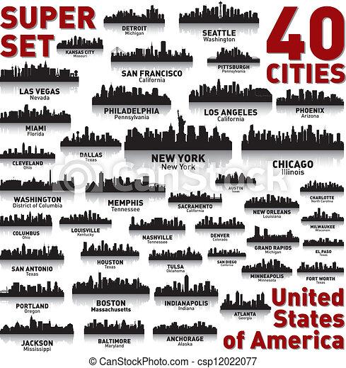 niewiarygodny, stany, zjednoczony, set., sylwetka na tle nieba, miasto, america. - csp12022077