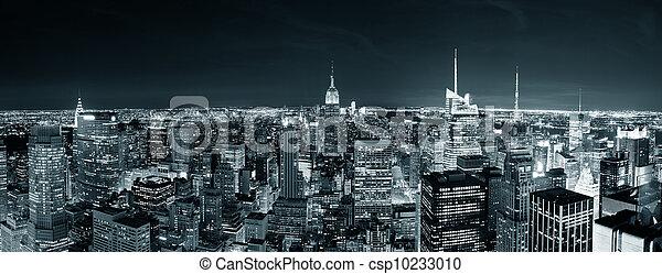 noc, manhattan skyline, miasto, york, nowy - csp10233010