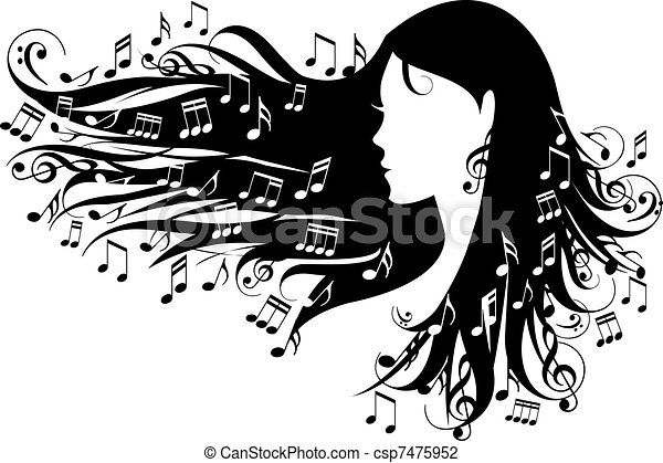 notatki, kobieta, muzyka - csp7475952