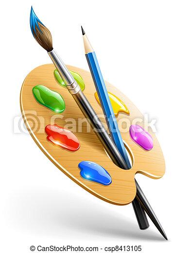 ołówek, paleta, sztuka, namalujcie szczotkę, narzędzia, rysunek - csp8413105