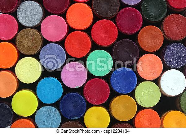 ołówki, szkoła, hałasy, sztuka, żywy, barwny, jasny, ich, kolor, kredka, wosk, załatwiony, wystawa, kolumny - csp12234134