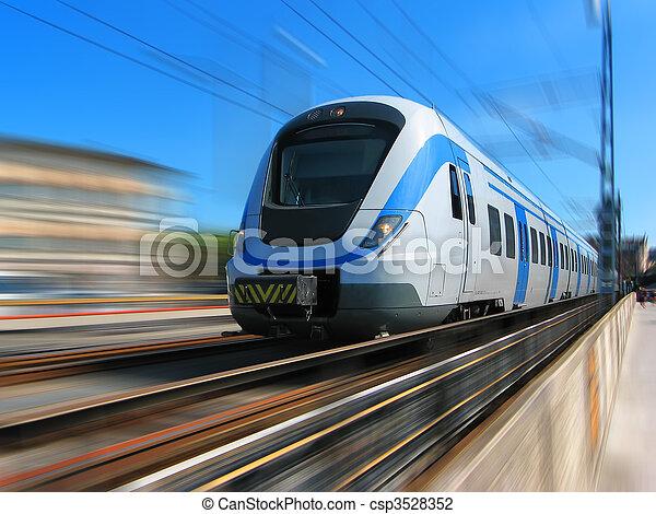o dużej prędkości, ruch, pociąg, plama - csp3528352