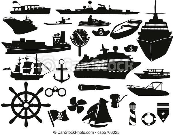 obiekty, komplet, nawigacja, ikona - csp5706025