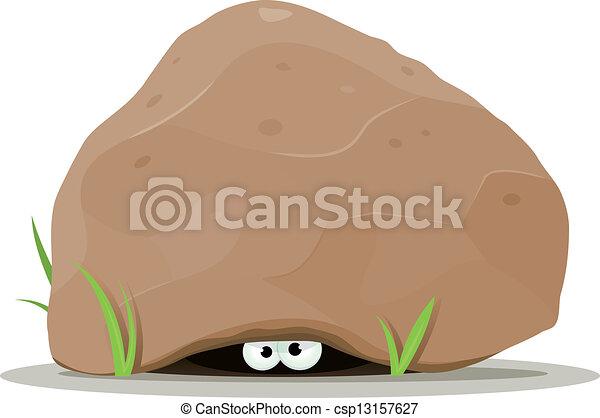oczy, cielna, kamień, zwierzę, pod, rysunek - csp13157627