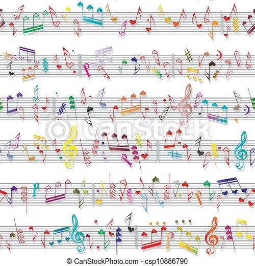 odgłos, serce, miłość, struktura, nuta, muzyka - csp10886790