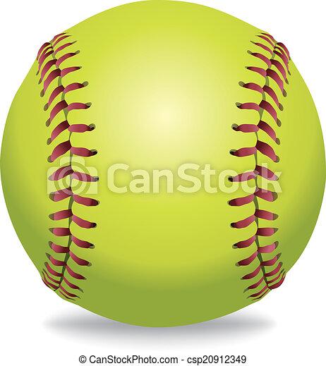 odizolowany, ilustracja, softball, biały - csp20912349