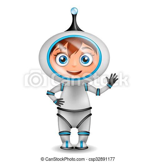 odizolowany, sprytny, reputacja, rysunek, astronauta - csp32891177