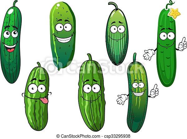 ogórek, warzywa, rysunek, organiczny, dojrzały, zielony - csp33295938