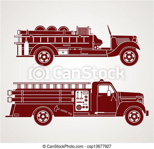 ogień, rocznik wina, ciężarówki - csp13677927