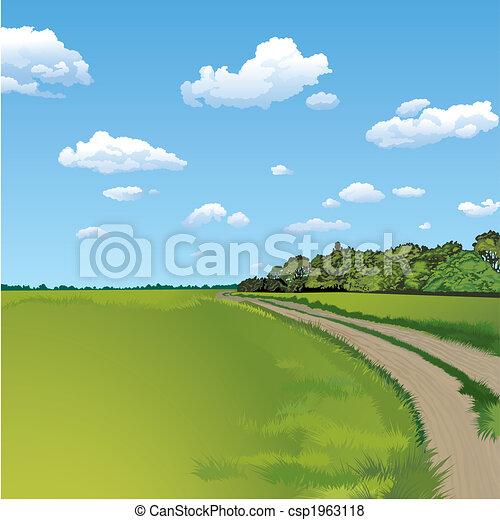 okolica, rolna scena, droga - csp1963118