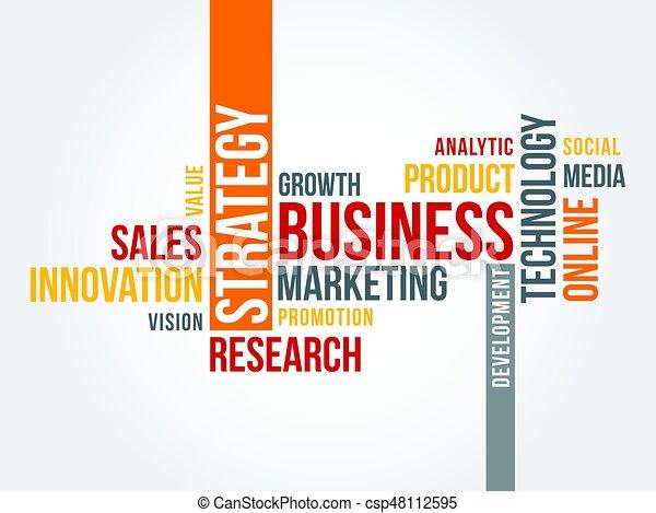 online, strategia, słowo, chmura, handel - csp48112595