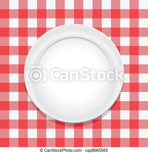 opróżniać, płyta, wektor, tablecloth, piknik, czerwony - csp8665565
