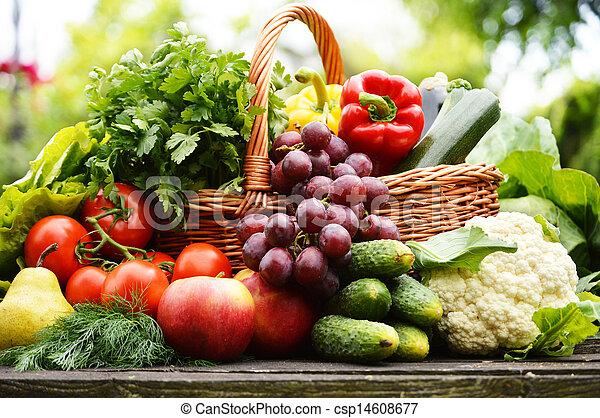 organiczny, ogród, wiklina, warzywa, kosz, świeży - csp14608677