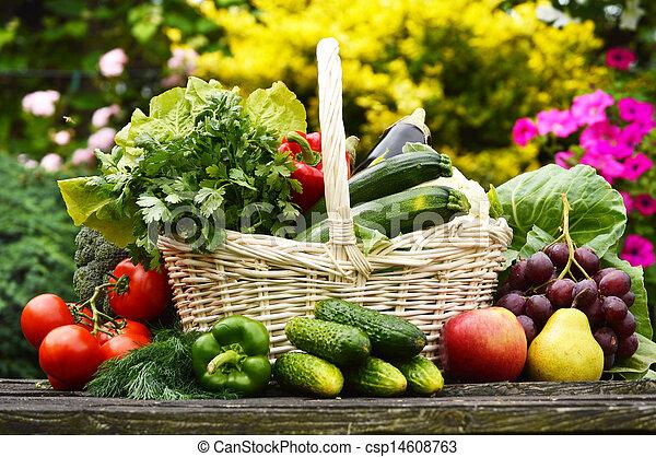 organiczny, ogród, wiklina, warzywa, kosz, świeży - csp14608763