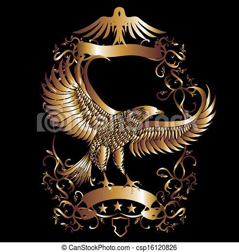 orzeł, wektor, sztuka, tarcza, złoty - csp16120826