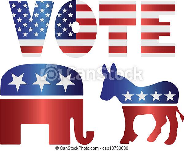 osioł, demokrata, ilustracja, słoń, głos, republikanin - csp10730630