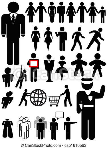 osoba, symbol, komplet, sylwetka - csp1610563