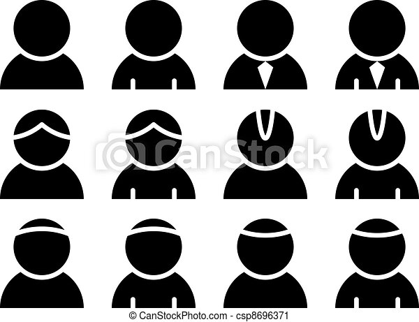 osoba, wektor, czarnoskóry, ikony - csp8696371