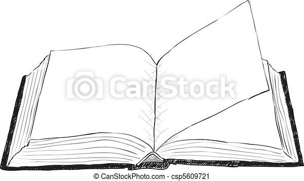 otwarty, szorstki, książka, -, ilustracja - csp5609721