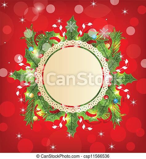 ozdoba, święto, powitanie karta, boże narodzenie - csp11566536