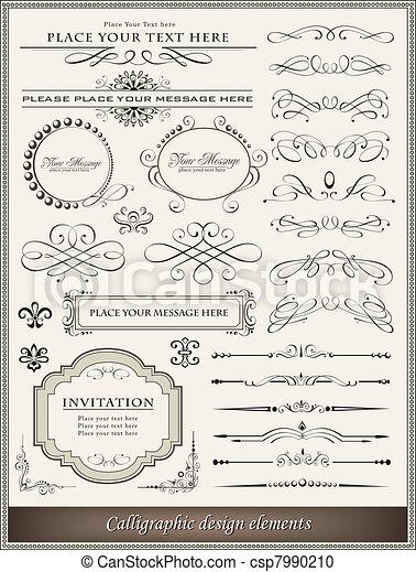 ozdoba, elementy, projektować, strona, calligraphic - csp7990210