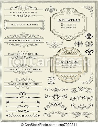 ozdoba, elementy, projektować, strona, calligraphic - csp7990211